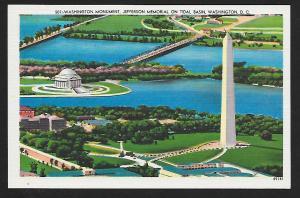 Tidal Basin Washington Monument Washington DC unused c1940's