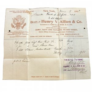 1915 - Admiral Frank H. Schofield - MILITARY INVOICE - VINTAGE PAPER