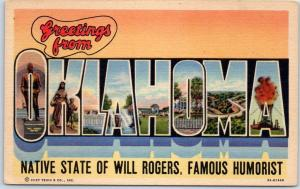 OKLAHOMA Large Letter Postcard Native State of WILL ROGERS Linen c1940s Unused