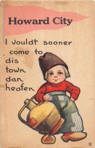 <A2> Michigan Mi PENNANT Postcard c1910 HOWARD CITY Dutch Child Heafen