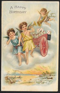 Happy Birthday Angels Flying With Cart Used c1910s