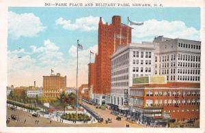 NEWARK NEW JERSEY~PARK PLACE AND MILITARY PARK~MANHATTAN CARD CO. POSTCARD 1920s