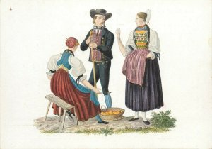 Switzerland swiss early folk costumes ethnic types Unterwalden