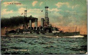 Vintage 1910s U.S. Navy Ship Postcard U.S.S. VIRGINIA Battleship Unused