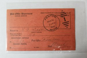 1942 Official U.S. Postage Business Post Card Registered Article Card Cancelled