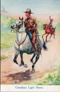 Canadian Light Horse CLH Calvary Regiment WWI Horses T. Gilson Art Postcard E39