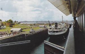 View from control tower, Gatun Locks, Panama Canal, Panama,40-60s