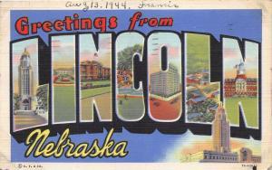 Lincoln Nebraska Large Letter Linen~Scenes in Letters~1944 Postcard
