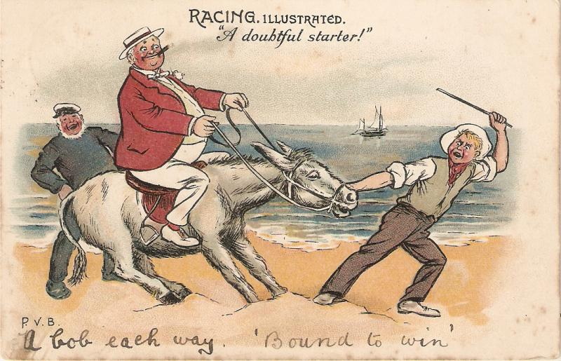 Fat man in horse. A doibtful starter! Tuck Racing Illustrated Series C # 1178