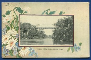 Miller Bridge Seguin Texas tx postmarked 1909 old postcard