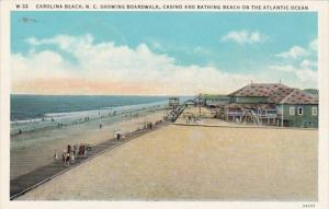 North Carolina Beach Showing Boardwalk Casino and Bathing Beach Curteich