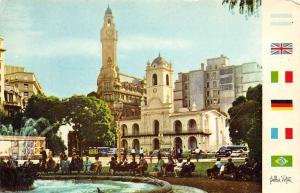 Argentina Buenos Aires Plaza de Mayo Historic Cabildo bus cars fountain flags