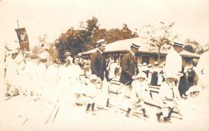 Moose Heart Illinois~Mooseheart Children Parade~Men in Boaters~Ladies~1914 RPPC