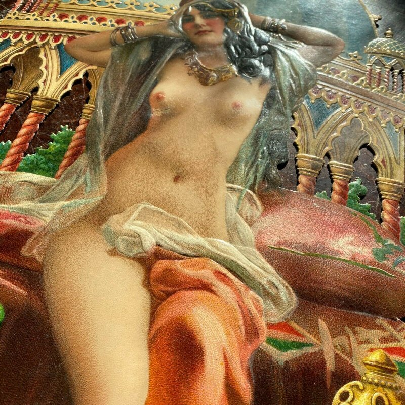 Spectacular tobacco store die cut ad nude woman harem Turkish Victorian 19th c