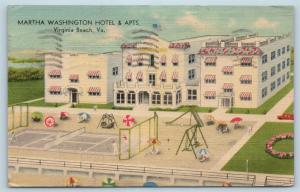Postcard VA Virginia Beach Martha Washington Hotel Apartments Playground E08
