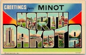 1940s MINOT, NORTH DAKOTA Large Letter Postcard Multi-View Curteich Linen Unused