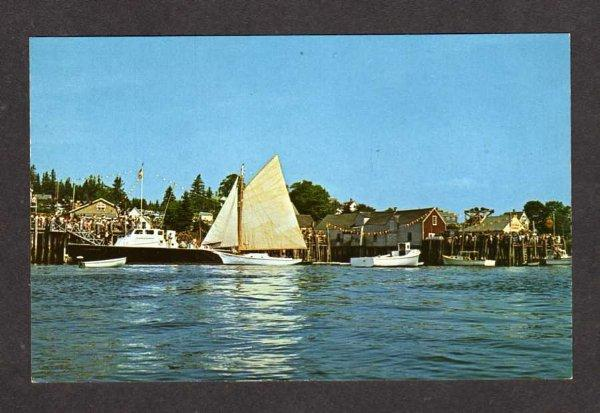 ME Sailboats Sloop Day in Friendship Harbor Maine Postcard