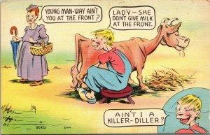 MWM Cartoon Farm LINEN COLOR Comical Vintage Postcard WW2 MILITARY POSTED FREE