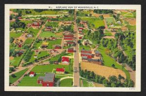 Birds Eye View of City Weaverville North Carolina Unused c1930s
