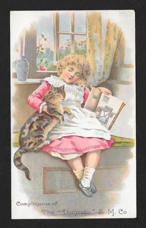VICTORIAN TRADE CARD Domestic Sewing Machine Girl with Cat