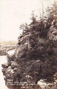 Wisconsin St Croix Falls Rocks & Bridge St Croix River 1939 Real Photo