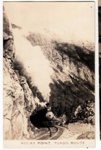 20-30s ROCKY POINT Yukon Route Canada RPPC Postcard RAILROAD Steam Loco BC?