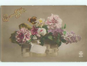 tinted rppc c1910 BEAUTIFUL FLOWERS AC8937