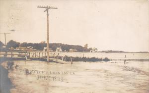 Pocahontas Iowa~Lizard Creek Flood Washes Out Foot Bridge~Homes~June 1908~RPPC