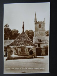 Wiltshire CASTLE COMBE The Cross & Church - Old RP Postcard by E.A. Sweetman