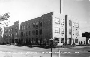Iron Mountain Michigan~Junior High School~Smoke Stack~1940s Real Photo Postcard