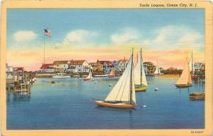 Ocean City New Jersey~Yacht Lagoon~Yachts & A Rowboat~1944~ Post Card