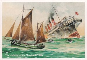 The Sinking Of The Lusitania Ship WW1 Disaster Painting Postcard