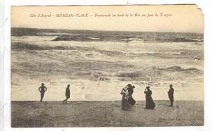 Promenade Au Bord De La Mer Un Jour Tempete, Mimizan-Plage (Landes), France, ...