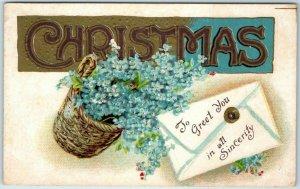Vintage CHRISTMAS Large Letter Embossed Postcard Blue Flowers 1910 Cancel