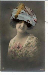 Beautiful Woman NOVELTY ADD ON HAT & HAIR c1910 Real Photo Postcard #1