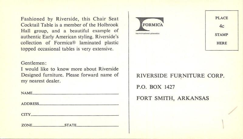 Fort Smith Ar Riverside Furniture Corp Formica Chair Seat Table 1960s B W Adv