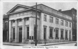 E86/ Carrollton Ohio Postcard Carroll Co 1928 Cummings Trust Co Bank