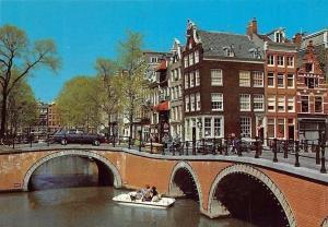 Netherlands Amsterdam Leliegracht Ponts River Bridge Cars Voitures