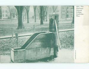 Pre-1907 OLD WATER PUMP AT HARVARD UNIVERSITY Cambridge Massachusetts MA Q1761