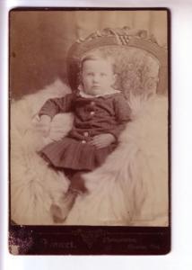 Smart Vintage Portrait Very Young Girl, Fur Rug Glencoe Ontario, Black Border...