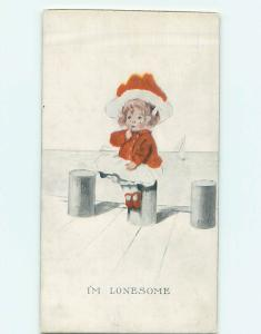 Pre-Linen LONESOME CRYING GIRL SITS ALONE ON THE DOCK HJ4202