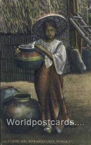 Philippines, Pilipinas Filipino Girl, Water Jars Manila Filipino Girl, Water ...