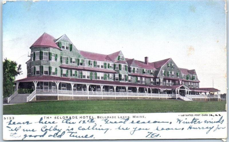 Belgrade Lakes, Maine Postcard THE BELGRADE HOTEL Building