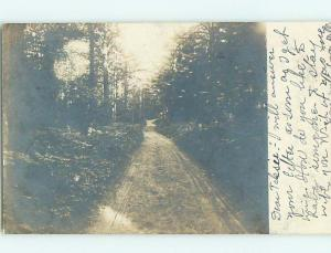 1906 rppc DIRT ROAD THROUGH THE WOODS Postmarked East Brownfield Maine ME HM2663