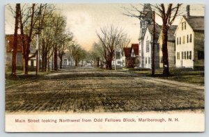 Marlborough NH~Main Street Northwest @ Odd Fellows Block~Homes~Church~c1905