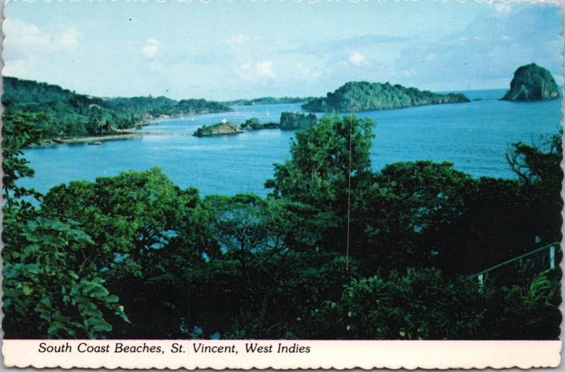 South Coast Beaches St. Vincent West Indies Unused Vintage Postcard D41