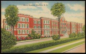 Mercy Hospital, Charlotte, NC. Tichnor linen postcard, circa 1945