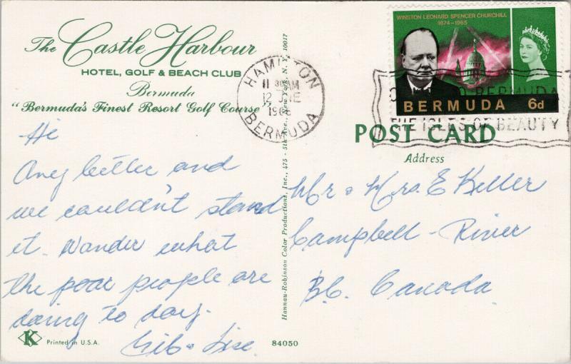 Castle Harbour Hotel Golf & Beach Club Bermuda 1966 Churchill Stamp Postcard F4