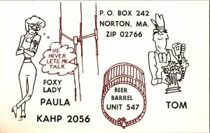 QSL Radio Card From Norton MA Massachusetts KAHP 2056