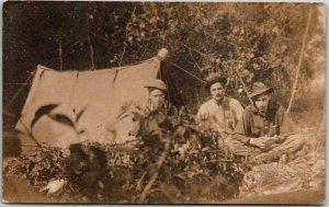 Vintage HUNTING Real Photo RPPC Postcard Camp Scene Tent Hunters c1910s Unused